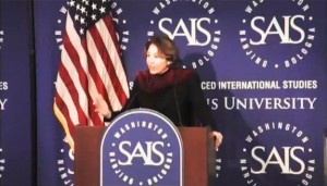 (Slaughter speaking at SAIS, Johns Hopkins)