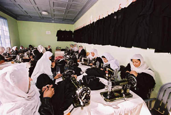 http://commons.wikimedia.org/wiki/File:Afghan_Women_Sewing_School_Uniforms.jpg