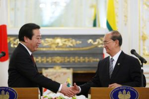April 2012 Japanese Prime Minister Yoshihiko Noda, left, shakes hands with Myanmat President Thein Sein, after their bilateral meeting at the Mekong-Japan Summit at the State Guest House in Tokyo.