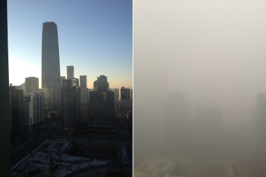 On the left is a view of downtown Beijing on a clear day. At right, is the same view the next morning.  (Bill Bishop/Washington Post)