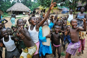 Children at a health clinic in Sierra Leone.