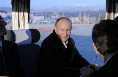 Russian President Vladimir Putin overseeing the contruction projects  in Sochi, where the 2014 Winter Olympics will take place from February 7th to the 23rd. (Source: Bloomberg)