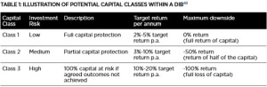 Potential Capital Classes for DIBs