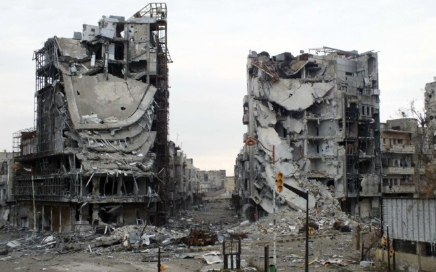A destroyed neighborhood in Homs, Syria.