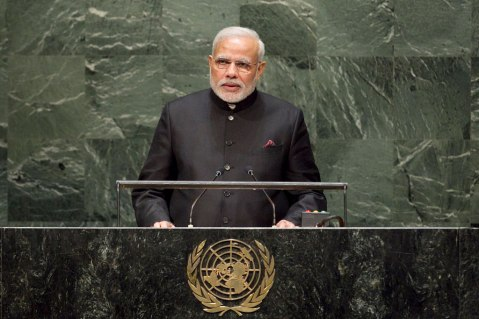Prime Minister Narendra Modi addresses the 2014 UN General Assembly  (UN Photo/Cia Pak)