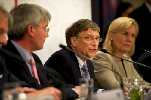 Bill Gates speaking at a press conference at the end of the GAVI Alliance pledging event